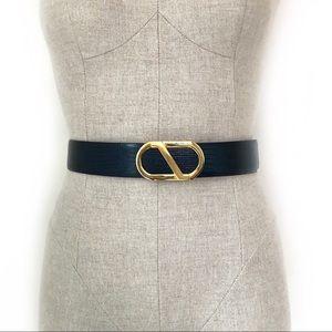 Vintage Navy Snakeskin Belt w/Gold Buckle Size M